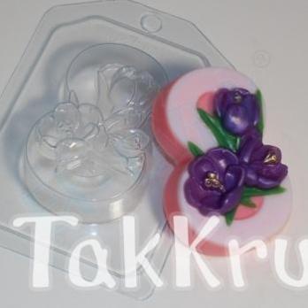 8 марта - Крокусы по диагонали, форма для мыла пластиковая