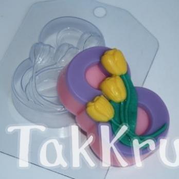 8 марта - Тюльпаны по диагонали, форма для мыла пластиковая