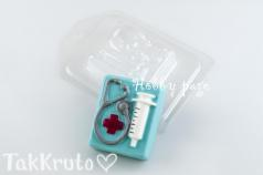 Шприц и стетоскоп, форма для мыла пластиковая (HobbyPage)